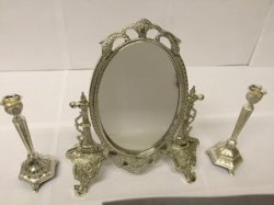 Fancy Vanity Mirror with 2 Single CandleSticks