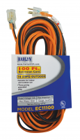 Harlyn EC11100 Vinyl Outdoor Extension Cord - 100 Feet - Orange and Black - 16 AWG Gauge - 1250 Watts - 10 Amp - Three-pronged