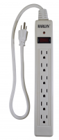 Harlyn Power Strip Surge Protector - 6 Outlets - 2 ft cord - 15A - 125V - 1875W - 600 Joules