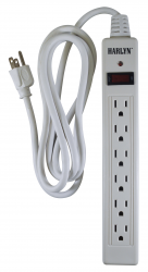 Harlyn Power Strip Surge Protector - 6 Outlets - 6 ft cord - 15A - 125V - 1875W - 600 Joules