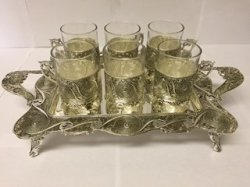 6 Piece Tea Cup Set with Tray