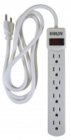 Harlyn Power Strip Surge Protector - 6 Outlets - 6 ft cord - 15A - 125V - 1875W - 300 Joules