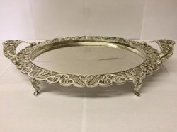 "18"" Round Serving Tray with Handle and Leg"