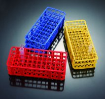 Snap Together Test Tube Racks Polypropylene, 90-Well (6x15), Tube Diameter 12mm-13mm, Color:Red, (QTY. 1)