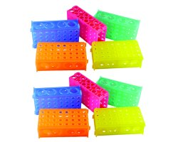 4-Way Micro Tube Rack, Link Together, Assorted Colors (QTY. Shrink of 5 Pieces, 2 Shrinks per Box)