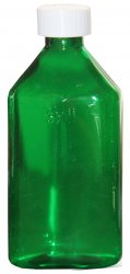 Pharmacy Oval Bottle GREEN 16 oz with CR Caps Included [QTY. 25]