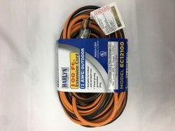 Harlyn EC12100 Vinyl Outdoor Extension Cord - 100 Feet - Orange and Black - 12 AWG Gauge - 1875 Watts - 15 Amp - Three-pronged