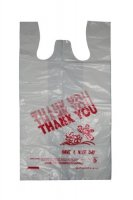 "Plastic Bag White 12"" x 7"" x 22"" (Large) 400 per Case [Thank You Print]"
