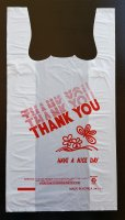 "Plastic Bag White 18"" x 8"" x 27"" (Jumbo) 400 per Case [Thank you Print]"