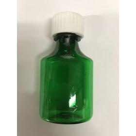 Pharmacy Oval Bottle GREEN 01 oz with CR Caps Included [QTY. 100]
